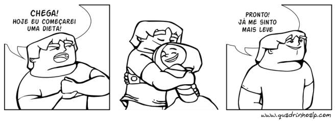 Inserindo as falas. Notem que no esboço havia fala no segundo quadro. Resolvi suprimir para sugerir apenas um abraço, reduzindo a quantidade de informação.
